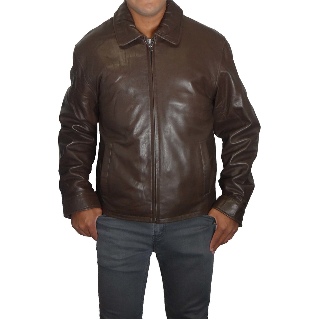 Knoles & Carter Men's Zip Front Leather Jacket
