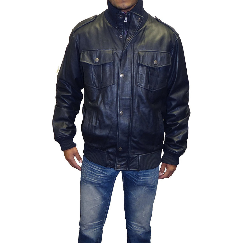 Knoles & Carter Military Leather Bomber Jacket