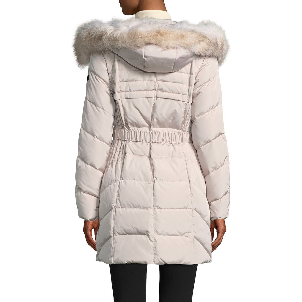 1 Madison Fox Fur-Trimmed Belted Hooded Down Coat