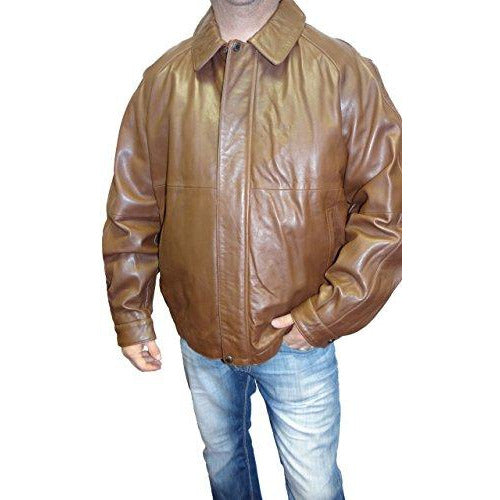 Claiborne Men's Tall Leather Bomber Jacket