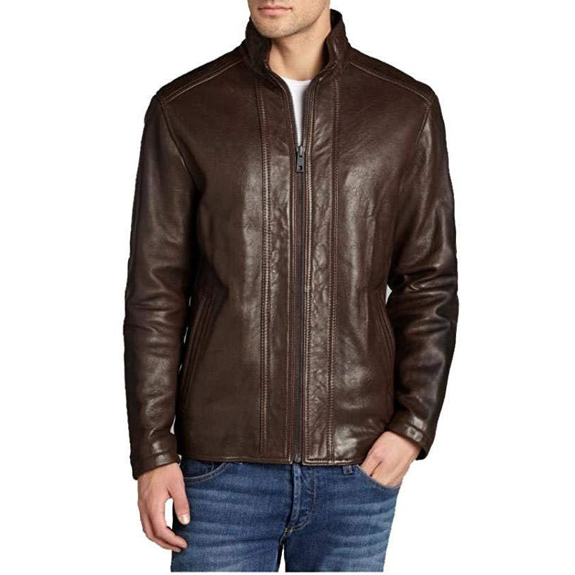Andrew Marc Men's Rock Zip Front Leather Jacket