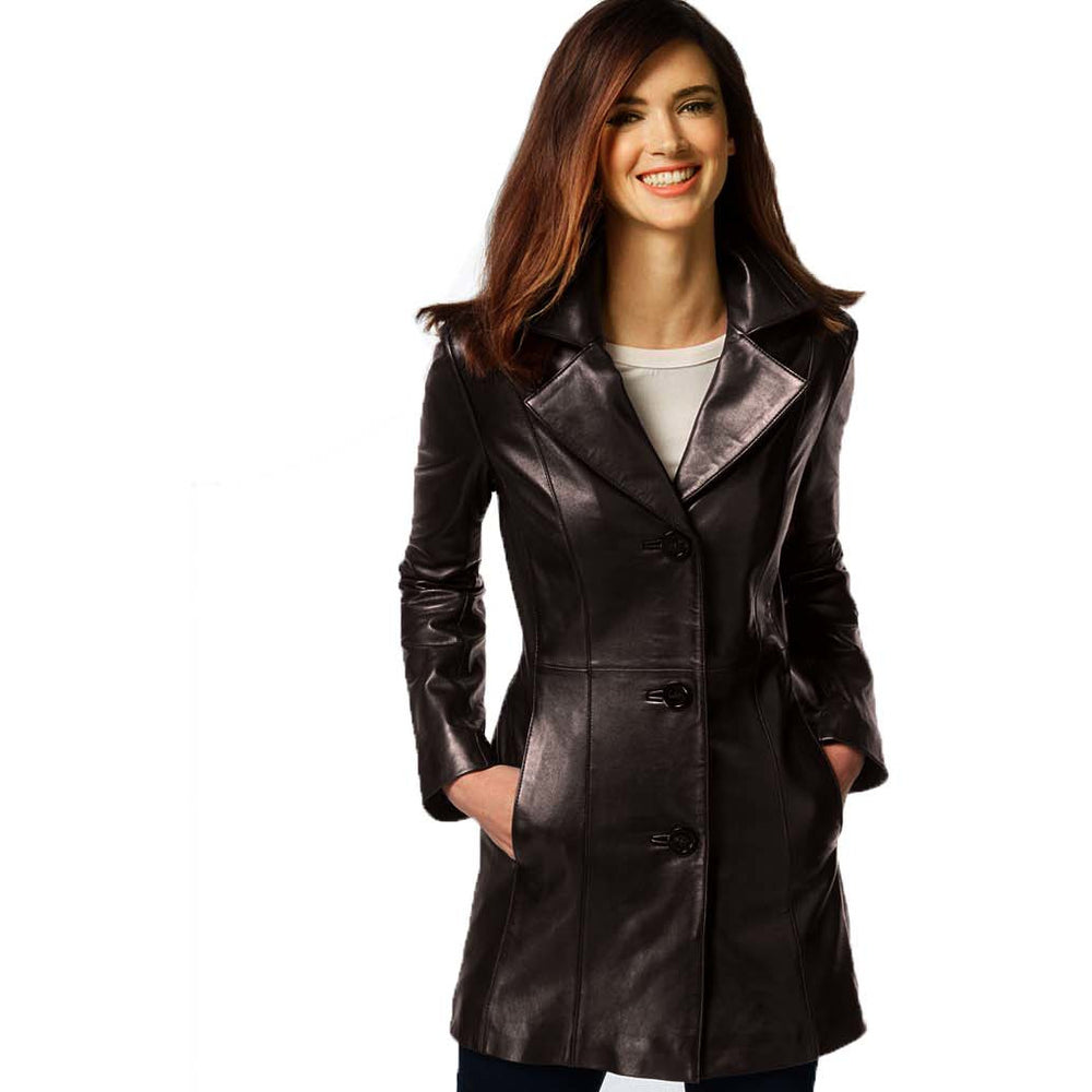 Anne Klein Women's Walker Leather Coat