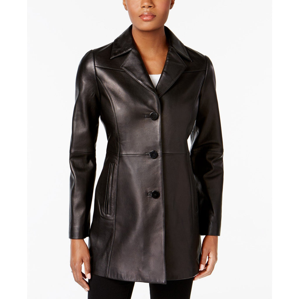 Anne Klein Walker Leather Coat Plus Size and Regular Size