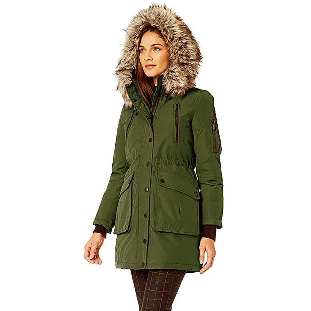 BCBGENERATION Faux Fur Trimmed Hooded and Sherpa Lined Coat