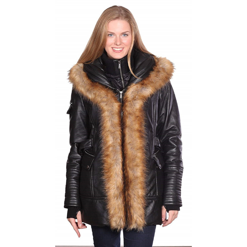 Mason & Cooper  Fur Trim Leather Parka Jacket