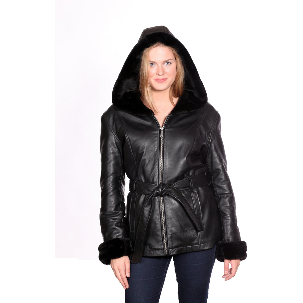 Christian NY Women's Shawl-Collar Hooded Leather Coat