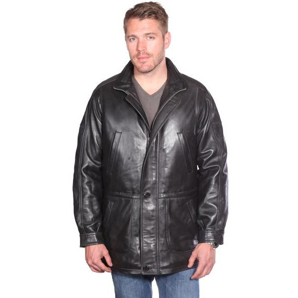 Mason & Cooper Men's Garner Mid-Length Leather Coat