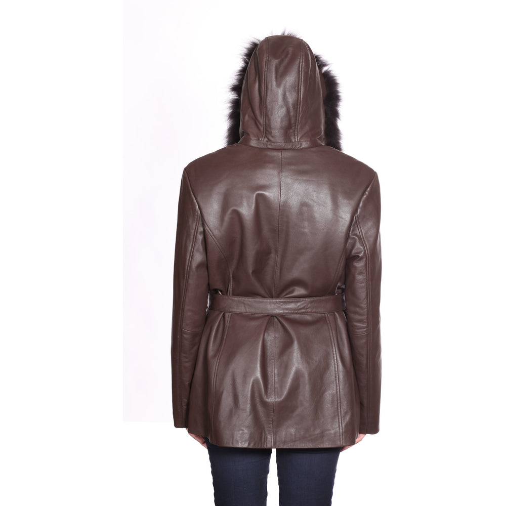 Christian Reed Women's Leather Jacket with Zip Out Hood