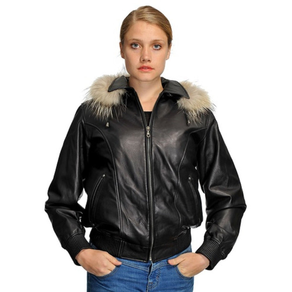 Wilda Amy Leather Jacket with Zip Out Fur Hood