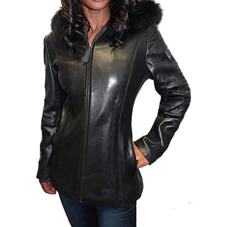 Mason & Cooper Women's Fox Trim Hooded Leather Jacket