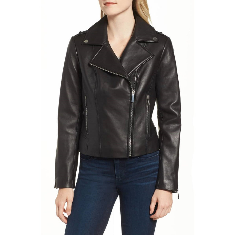 Michael Kors Classic Moto Petite Leather Jacket