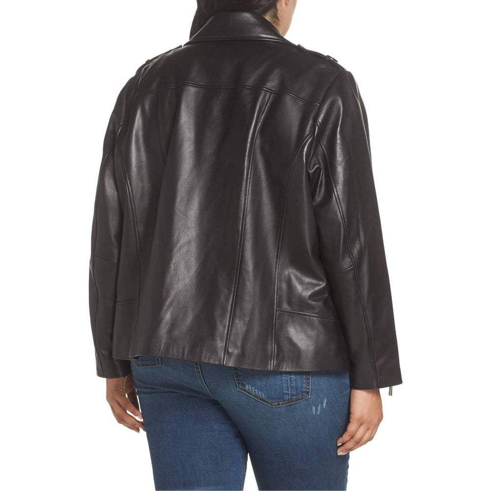 Michael Kors Plus Size Classic Moto Leather Jacket
