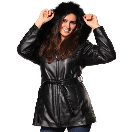 Mason & Cooper  Women's Leather Jacket with Zip Out Hood