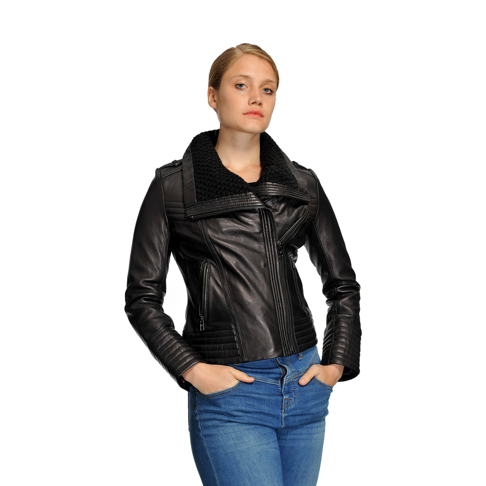 Michael Kors Plus Size Knit Collar Moto Leather Jacket