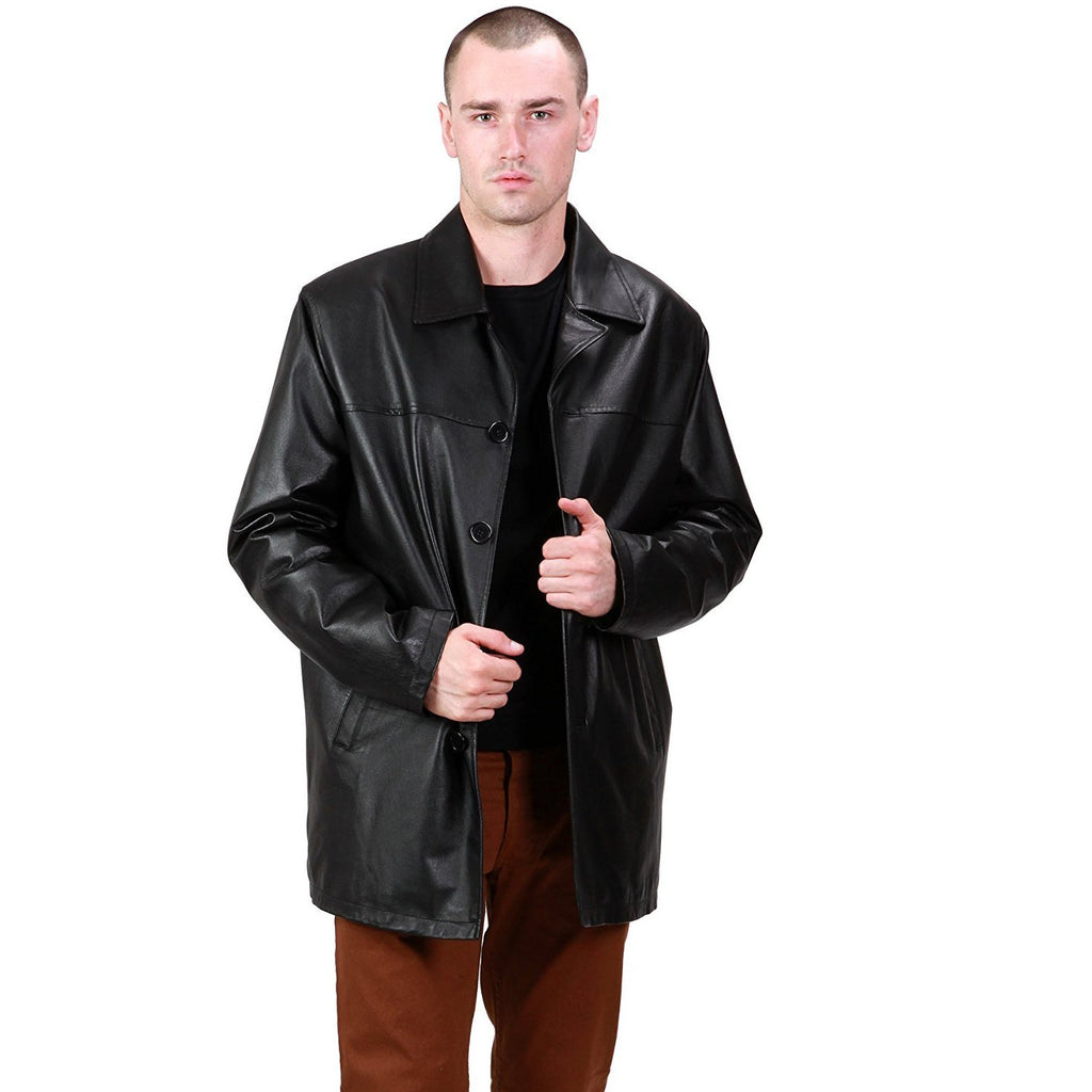 Ramonti Mens Classic Black Leather Car Coat
