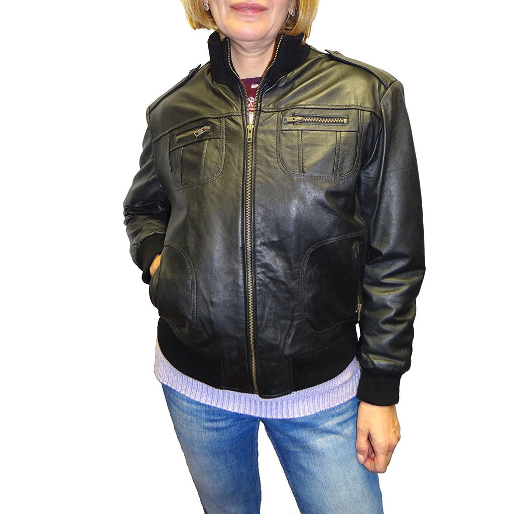 Superior Collection Women's Leather Bomber Jacket