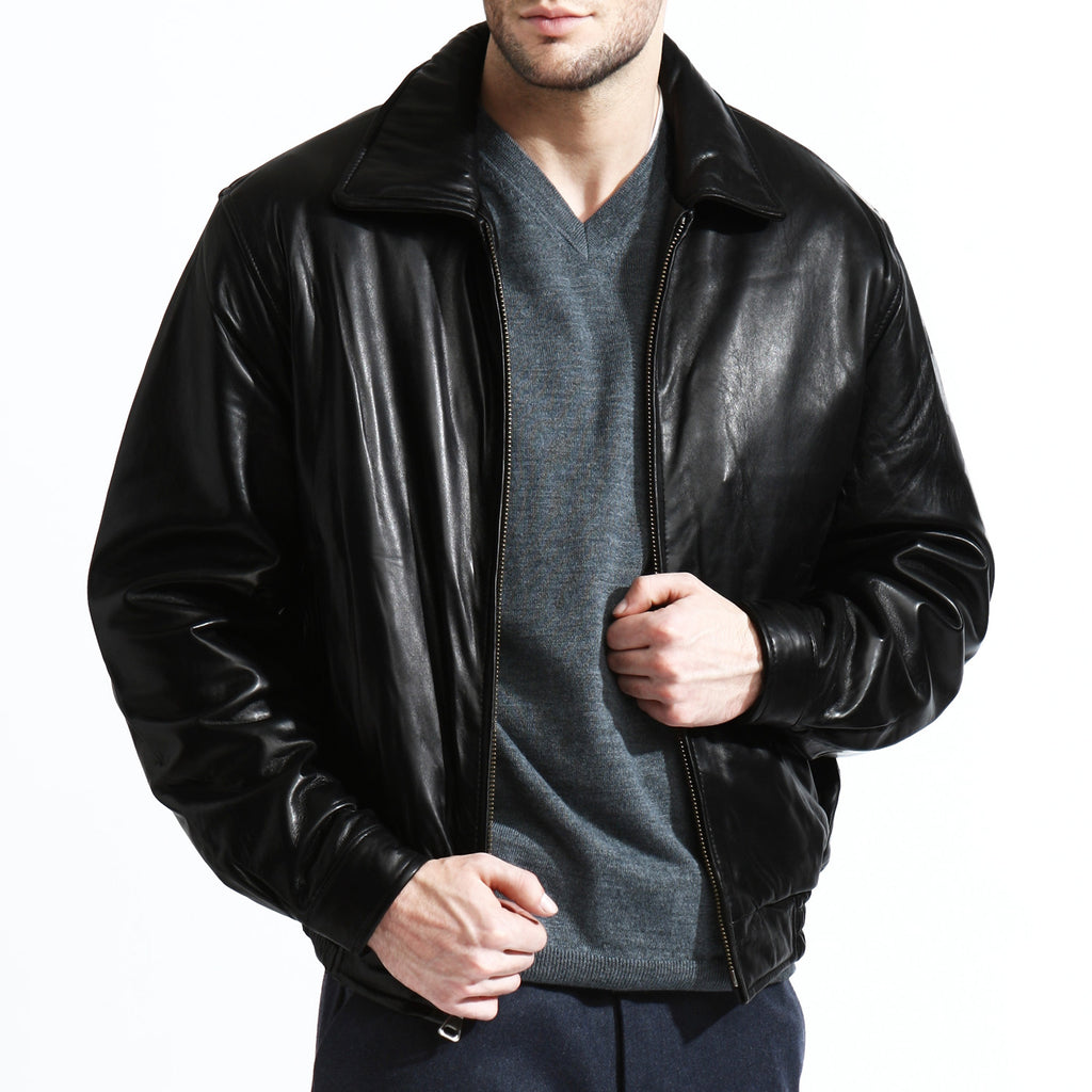 Tanners Avenue Lambskin Classic Leather Bomber Jacket