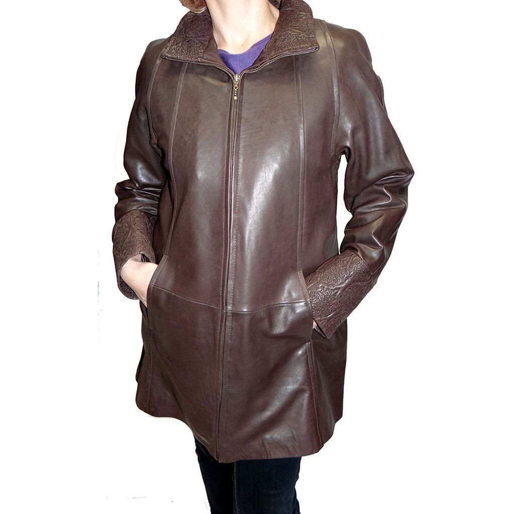 Tibor Design Swing Leather Coat with Embroidered Collar
