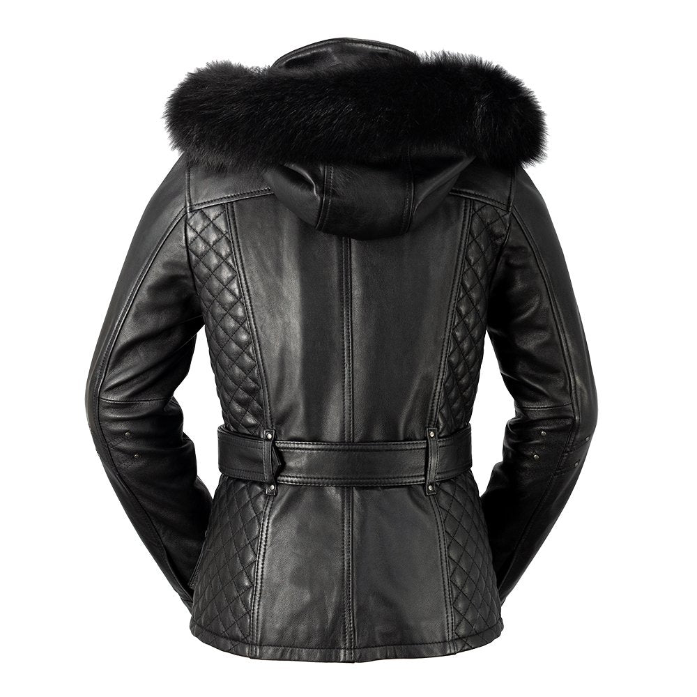 WHET BLU Leather Jacket with Fox Fur Trim Hood