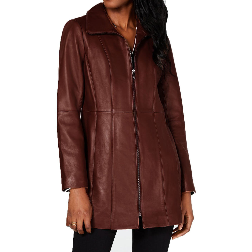 Anne Klein Stand-Collar Leather Jacket