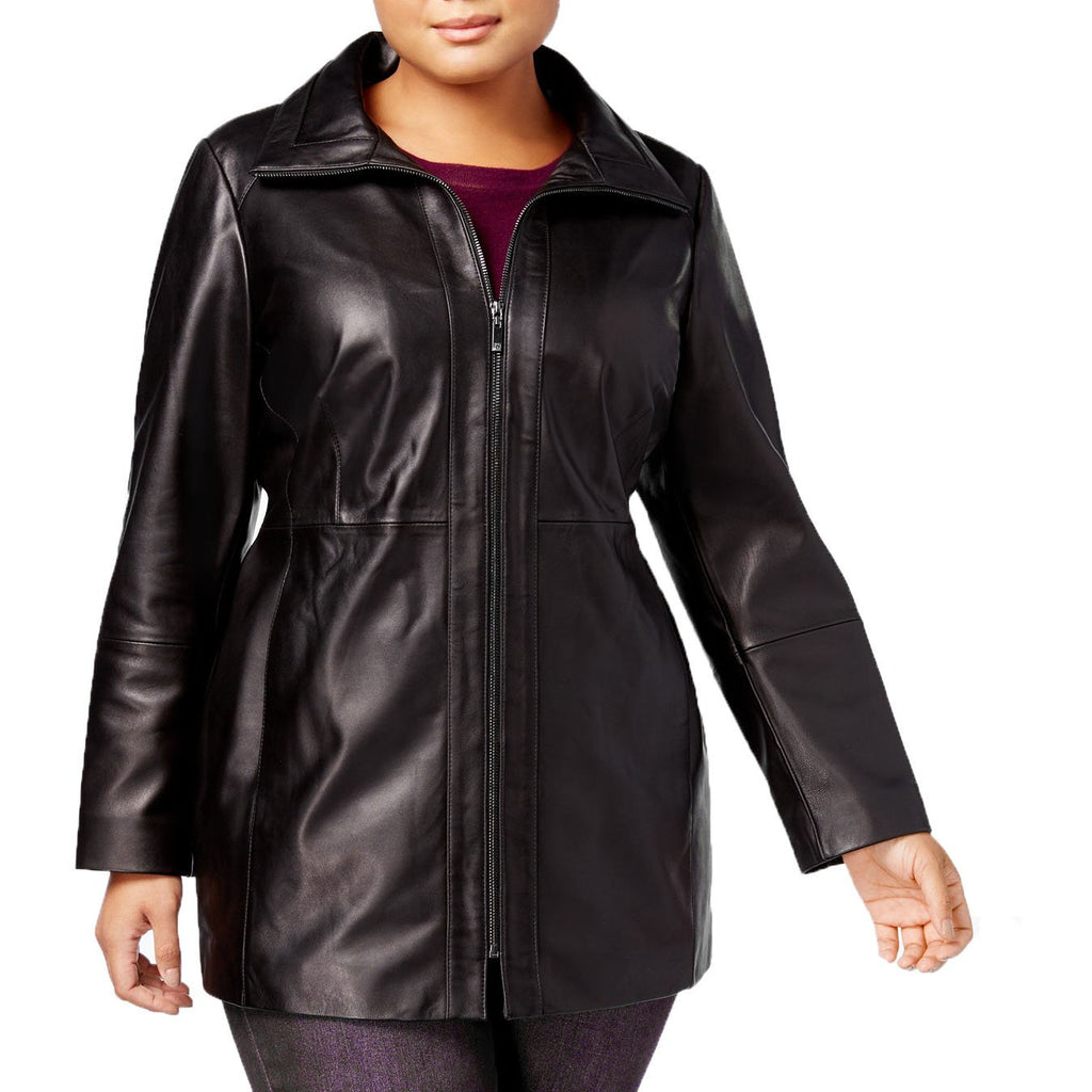 Anne Klein Plus Size Stand Collar Leather Walker Coat