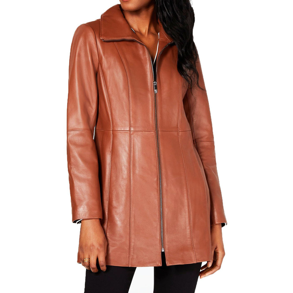 Anne Klein Stand-Collar Leather Walker Coat