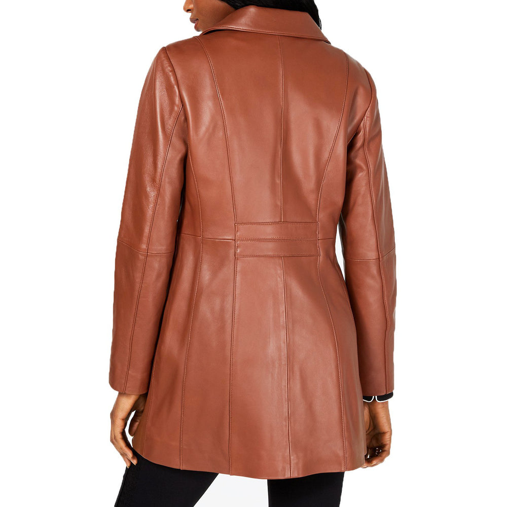 ANNE KLEIN Mid-Length Zip Front Leather Coat