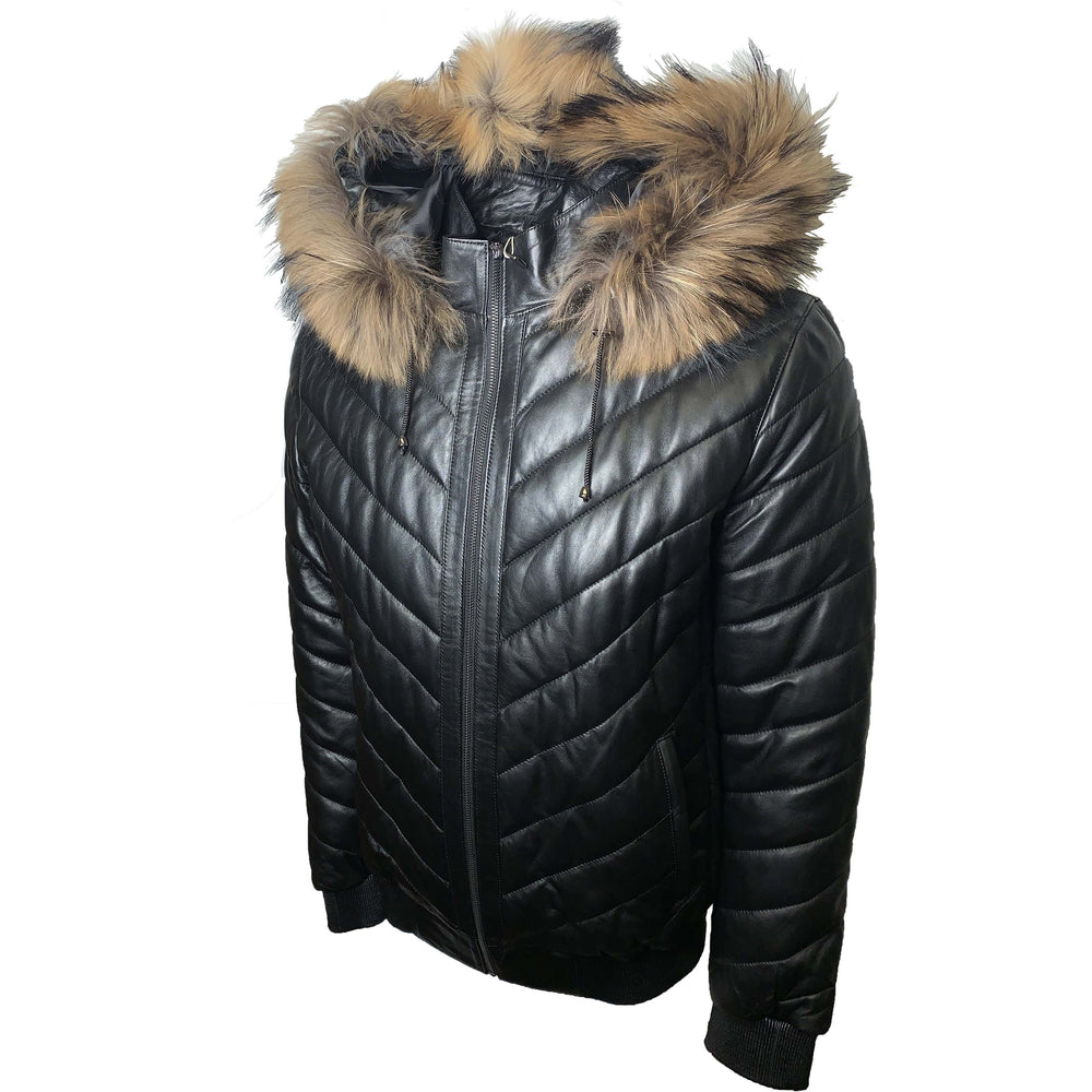 BARYA Leather Bomber Jacket with Real Fur