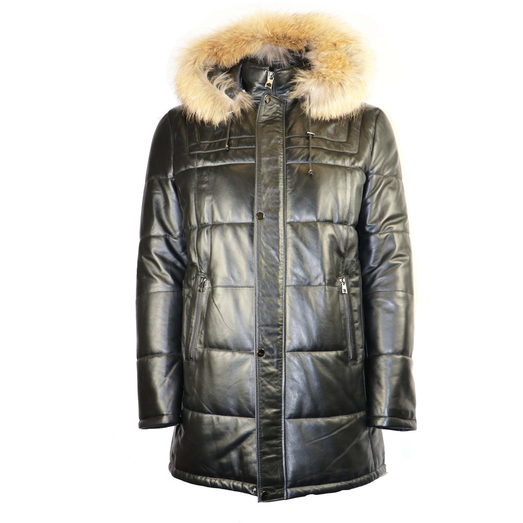 BARYA Leather Jacket with Real Fur