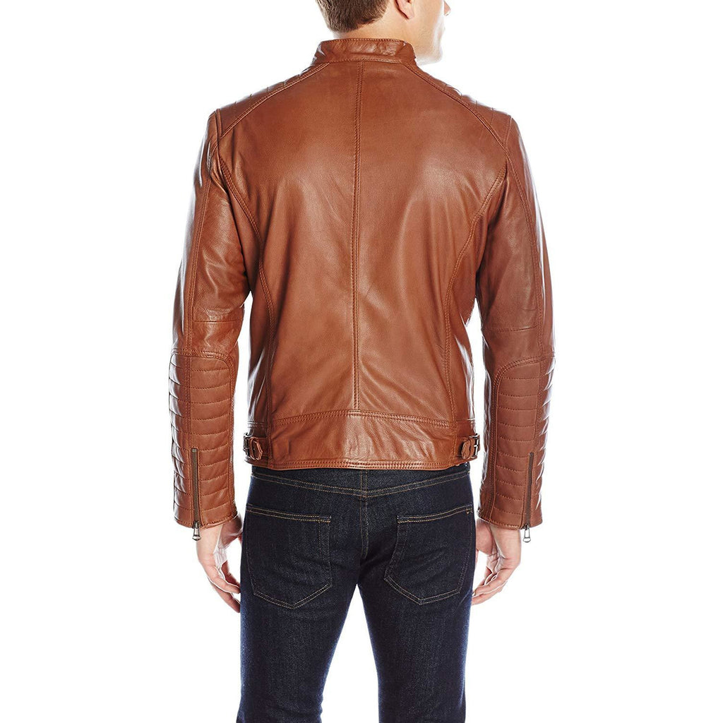 Cole Haan Men's Washed Vintage Leather Stand Collar Jacket