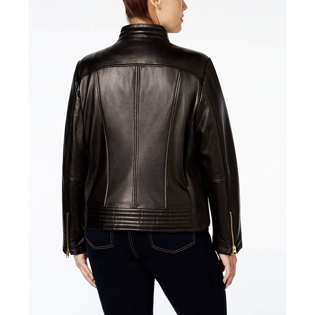 MICHAEL KORS PLUS SIZE Snap-Collar Moto Leather Jacket