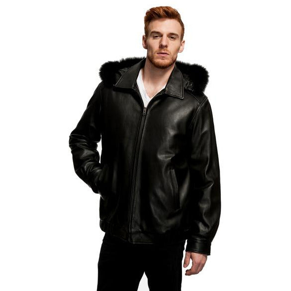 MASON & COOPER LANZA LEATHER/FOX TRIM JACKET
