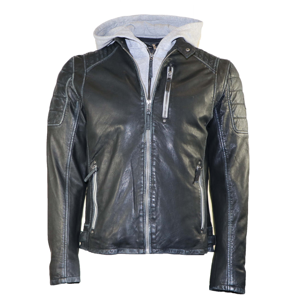 Mauritius Men's Hooded Leather Jacket