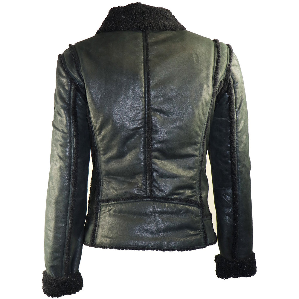 Mauritius Women's Moto  Leather Jacket with Faux Fur Lining