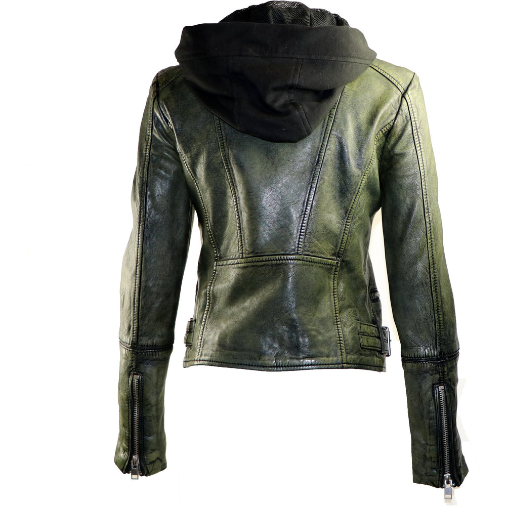 Mauritius Women's Hooded Leather Jacket