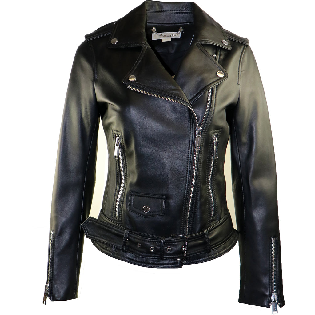 Michael Kors Women's Moto Rock N Roll Leather Jacket