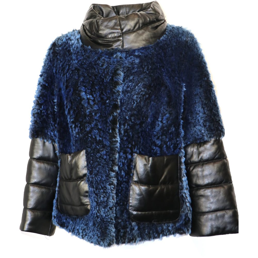 Nifaru Women's Cropped Sleeves Shearling Jacket