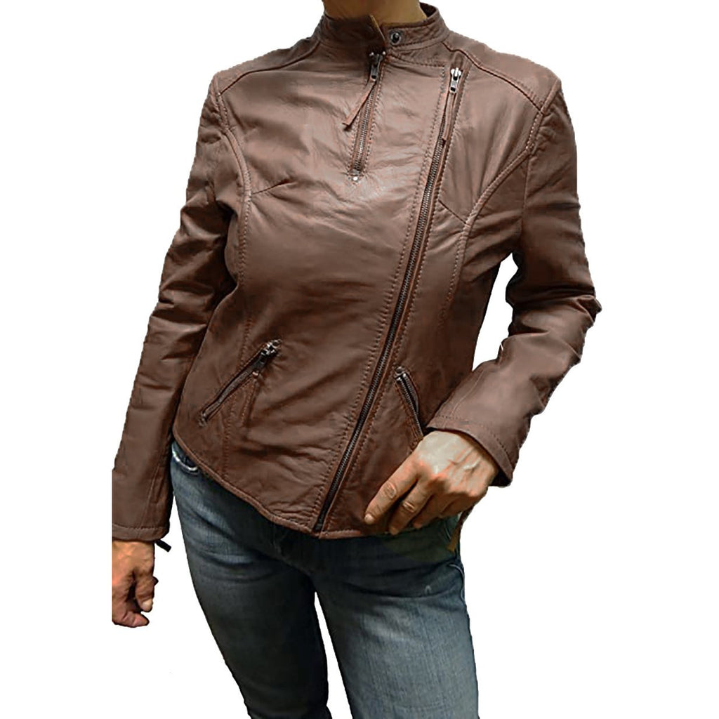 Tibor Design Women's Moto Leather Jacket