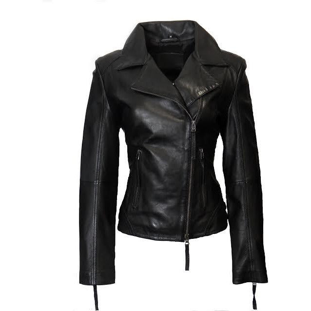 Whet Blu Women's Asymmetrical Zipper Leather Jacket