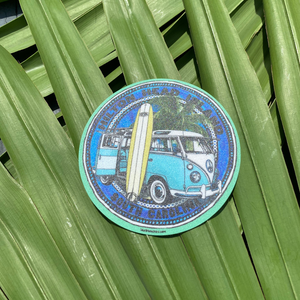 HHI Blue Van and Surfboard Sticker