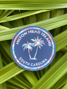 HHI Two Palm Trees Circle Sticker