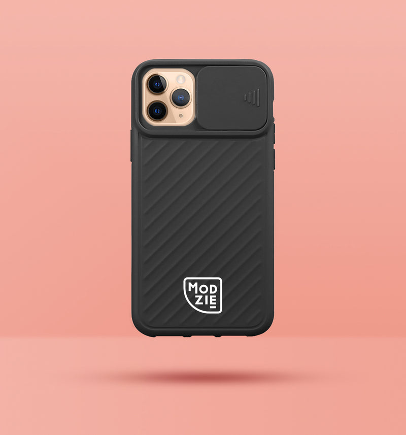 black iphone case with camera slider, with white Modzie logo bottom centre, with a pink background and black drop shadow under case