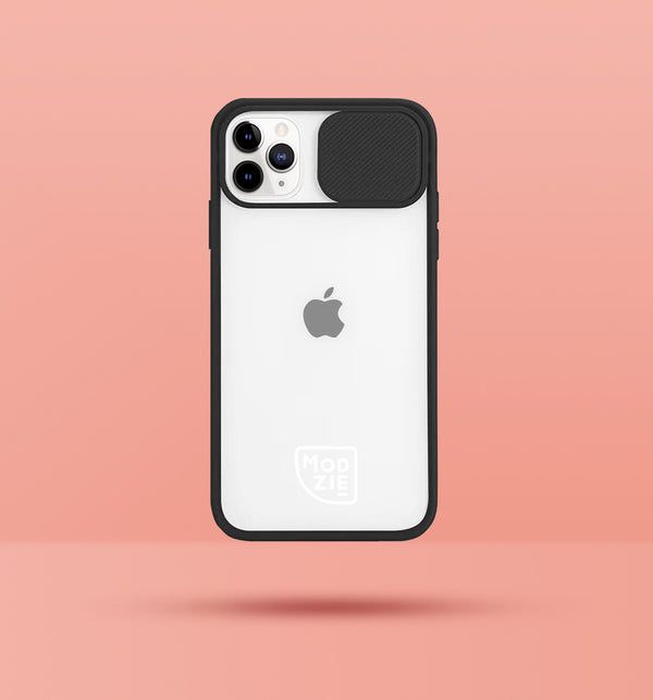 black clear iphone case with camera slider, with white Modzie logo bottom centre, with a pink background and black drop shadow under case