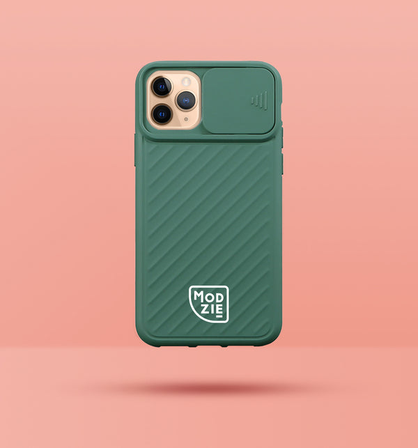 green iphone case with camera slider, with white Modzie logo bottom centre, with a pink background and black drop shadow under case