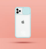 light blue clear iphone case with camera slider, with white Modzie logo bottom centre, with a pink background and black drop shadow under case