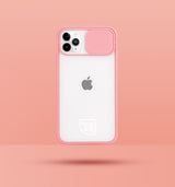 pink clear iphone case with camera slider, with white Modzie logo bottom centre, with a pink background and black drop shadow under case