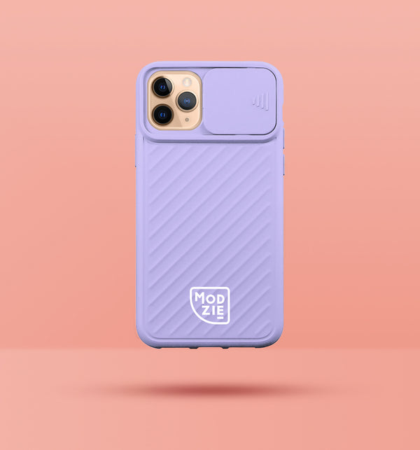 purple iphone case with camera slider, with white Modzie logo bottom centre, with a pink background and black drop shadow under case