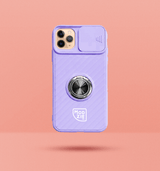 purple iPhone case with camera slider. Silver circle grip ring in the centre of the case and white Modzie logo under the grip ring. Black drop shadow under case and pink background.