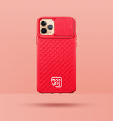 red iphone case with camera slider, with white Modzie logo bottom centre, with a pink background and black drop shadow under case