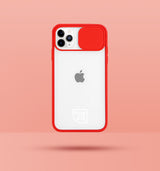 red clear iphone case with camera slider, with white Modzie logo bottom centre, with a pink background and black drop shadow under case